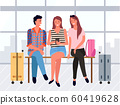 People Sitting in Departure Lounge, Friends Vector 60419628