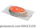Raw salmon steak in vacuum packing, 3D rendering 60423156