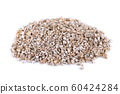 Exfoliated vermiculite mineral, isolated on white background. Mineral used in gardening. 60424284