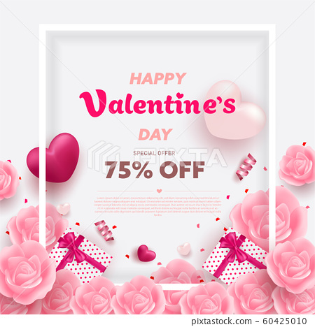 Happy Valentine's Day banner with Red and Pink luxury hearts, gifts box, ribbon and lovely elements. Valentine background design vector illustration. 60425010