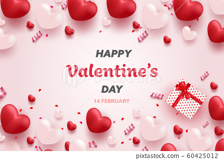 Happy Valentine's Day banner with Red and Pink luxury hearts, gifts box, ribbon and lovely elements. Valentine background design vector illustration. 60425012