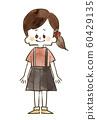 女孩微笑全身水彩畫 60429135