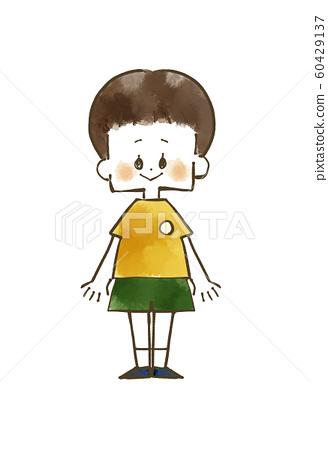 男孩微笑全身水彩畫 60429137