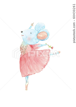Cute rat ballet watercolor rat new year's card material new year's card child zodiac 60430261
