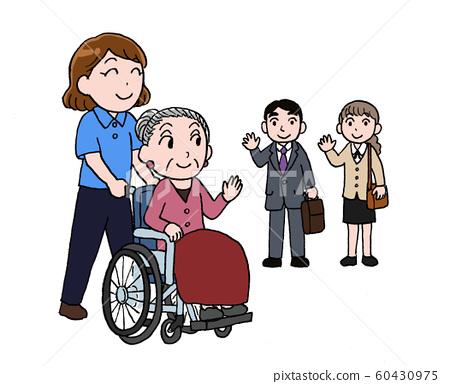 요양 시설에 픽업 떠나 보내는 가족의 일러스트 60430975