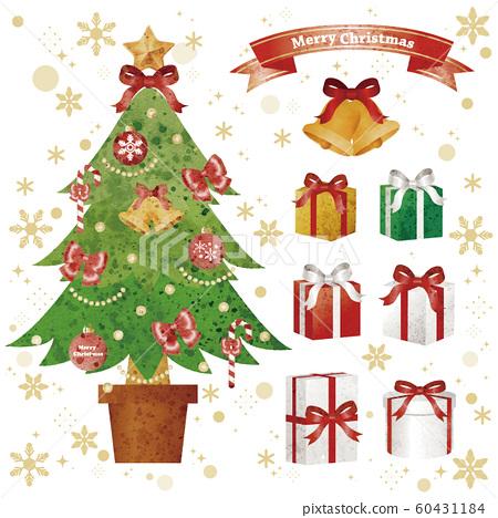 聖誕節聖誕樹禮物套裝模擬水彩畫 60431184