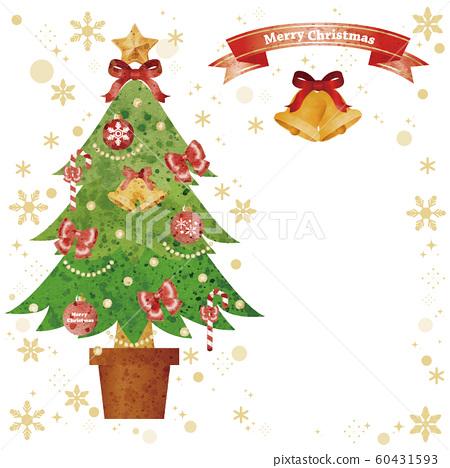 크리스마스 크리스마스 트리 복사 공간 아날로그 수채화 터치 60431593