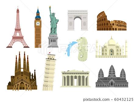 世界著名的建築物(遺址,建築物,世界遺產,地標)彩色插圖集 60432125