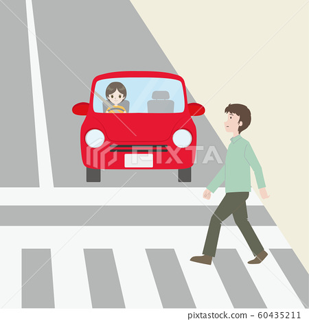 Car giving way to people crossing 60435211