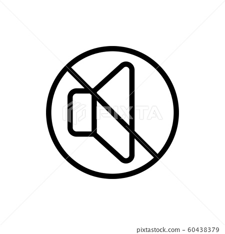 disabling the volume icon vector. Isolated contour symbol illustration 60438379
