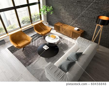 Interior of modern living room top view 3D rendering 60438848