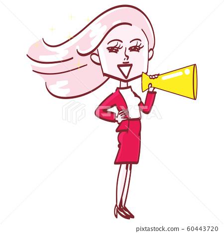 擴音器的閃亮頭髮女人 60443720