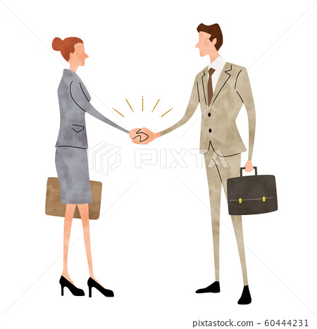 Illustration material: business scene, man, woman, handshake 60444231
