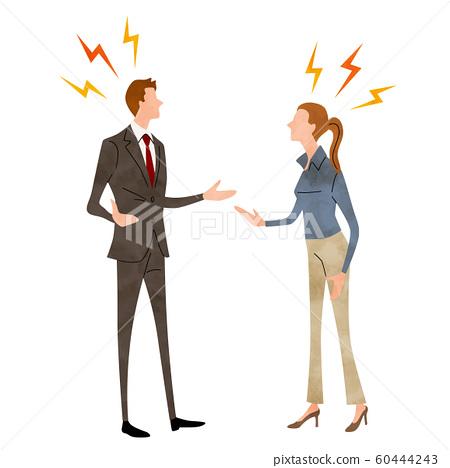 일러스트 소재 : 비지니스, 言い合う 남성 여성 60444243