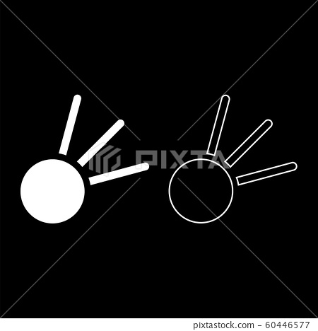 Symbol meteorite icon outline set white color  60446577