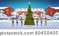 mix race people reading books merry christmas happy new year holiday celebration concept men women wearing santa hats standing near fit tree modern cityscape background horizontal full length 60450405