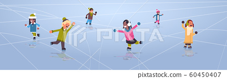 children skating on ice rink winter sport activity recreation at holidays concept mix race girls and boys spending time together full length horizontal 60450407
