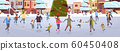 mix race people at ice-skating outdoor rink merry christmas new year winter holidays concept modern city street with decorated fir tree cityscape background full length flat horizontal 60450408