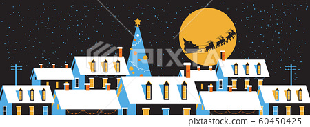 santa flying in sleigh with reindeers in night sky over snowy village houses merry christmas happy new year winter holidays concept greeting card flat horizontal 60450425