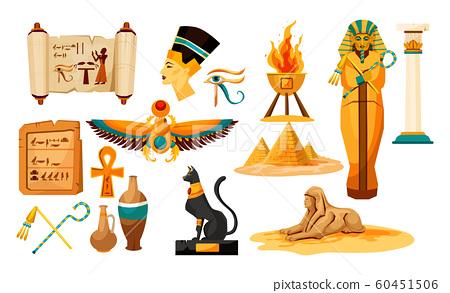 Set of isolated egyptian or Egypt symbols or icon. 60451506