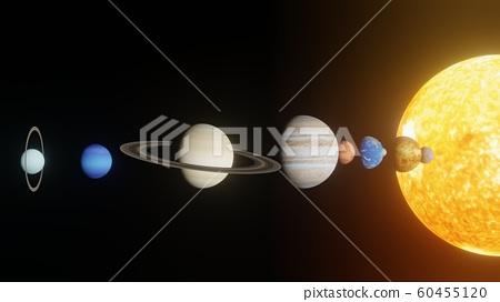 神秘的太空行星排列 60455120
