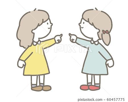 Girl pointing finger 60457775