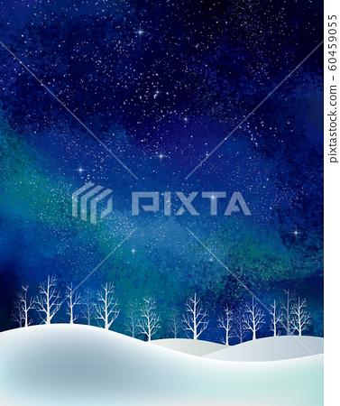 겨울 풍경 : 수채화 겨울 경치 나무 나무 눈 언덕 설산 숲 숲 별 밤하늘 반짝 반짝 60459055