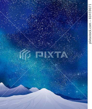 겨울 풍경 : 수채화 겨울 풍경 산 눈 설산 별 밤하늘 반짝 반짝 은하수 60459071