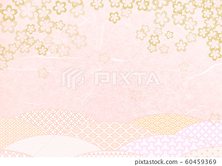 Japanese paper texture background material with cherry blossom pattern-gold and pink 60459369