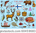 Symbols of Finland in vintage style. Doodle sketch with traditional signs. Scandinavian culture 60459683