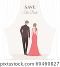 A bride and groom wedding couple. Romantic couple in flat design for Invitation card. 60460827