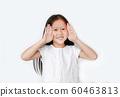 Portrait of happy little child girl gestures 60463813