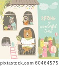 Cute animals look out of the windows. Hello spring 60464575