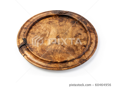 wooden plate isolated on white background 60464956