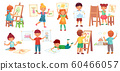 Drawing children. Kid illustrator, baby drawing play and draw kids group cartoon vector illustration 60466057
