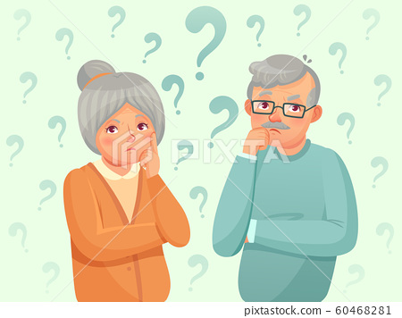 Thinking seniors couple. Confused elderly people. Grandfather, grandmother forget and trying remember cartoon vector illustration 60468281
