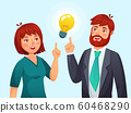 Couple having idea. Husband and wife have solution, adult male and female solved problem or ideas lamp cartoon vector illustration 60468290