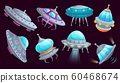 Cartoon ufo spaceship. Alien spacecraft futuristic vehicle, space invaders ship and flying saucer isolated vector set 60468674