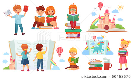 Kids reading book. Cartoon child library, happy kid read books and book stack isolated vector illustration 60468676