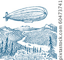 Dirigible or Zeppelin on the background of the meadow in vintage style. Balloon airship sketch 60473741
