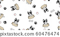 dog seamless pattern french bulldog vector box paw footprint bone baseball pet toy scarf isolated cartoon repeat background tile wallpaper illustration white design 60476474