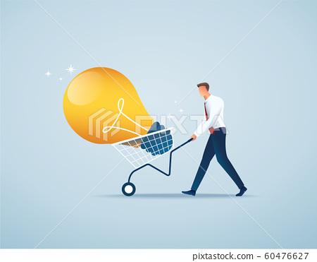 businessman push cart full of light bulbs, creative concept vector illustration EPS10 60476627