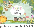 Cute frame composed of cartoon kids traveling with animals 60477428