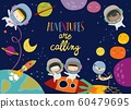 Cute frame composed of girls ans boys astronauts riding a rocket 60479695