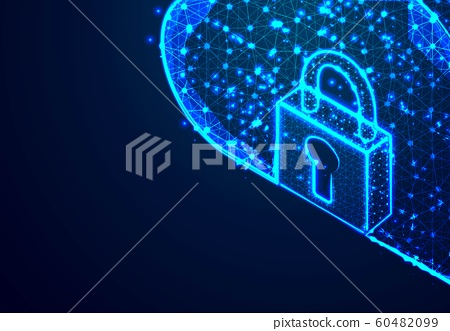 Padlock and Cloud Storage, From Lines and Dot, 60482099