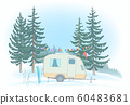 Travel Trailer parked in Glade. Winter forest. 60483681