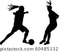 two female football players in a duel 60485132