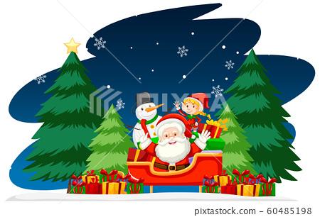 Christmas theme with Santa at night 60485198