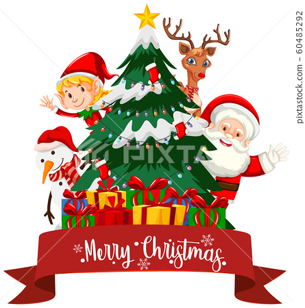 Christmas theme with Santa and presents 60485292
