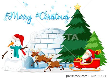 Christmas theme with snowman and igloo 60485354